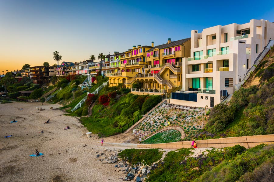California Insurance - View of Modern California Homes in Front of Beach Access